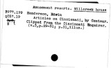 02. Local history index. Amusement resorts. Millcreek House - Associations. Society of Colonial...